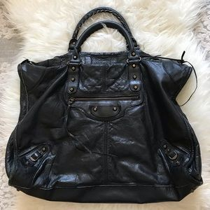 Balenciaga black weekender giant travel bag tote